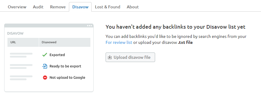 Semrush backlink disvow