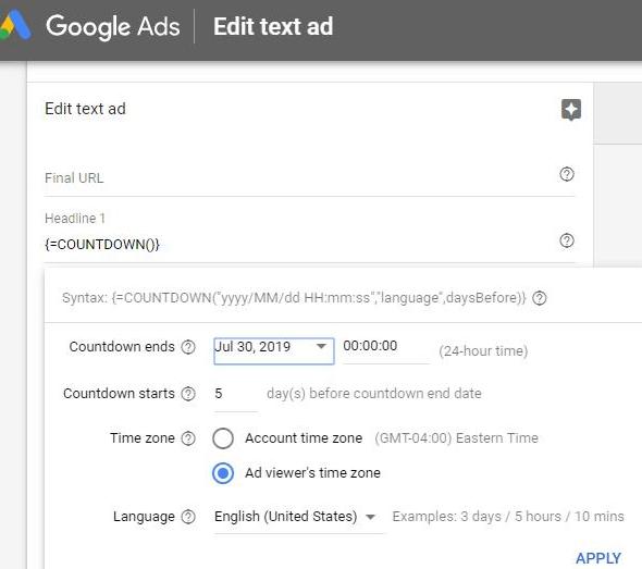 Ads countdown timer urgency
