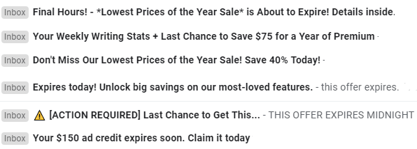 email subject lines urgency marketing