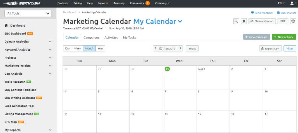 marketing calendar urgency SEMrush